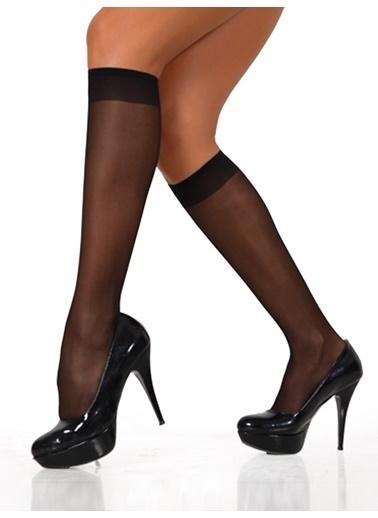Miorre 8'Li Likralı Parlak Dizaltı Çorap Siyah